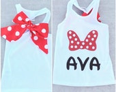 CUSTOM NAME Minnie Mouse Tank with Optional Bow on Back- All Ages - baby, toddler, child adult disneyland Princess Disney bound Minnie Mouse