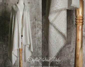 Natural Himalayan Wool Shawl Drifter Wood Paisley
