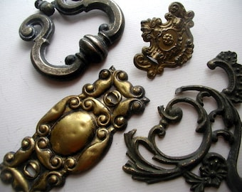 Vintage Victorian Antique Cast & Stamped Brass Salvage Furniture Hardware For Jewelry Craft Supply Altered Art