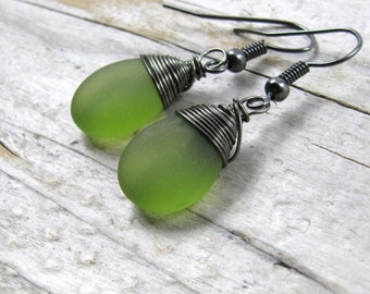 Green seaglass earrings, gunmetal wire wrap Boho gemstone earrings, simple elegant drop dangle earrings