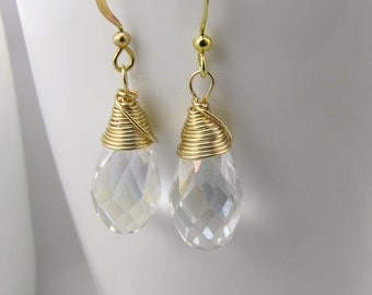 ab clear crystal earrings gold teardrop jewelry bridesmaid's earrings wedding jewelry