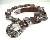 Vintage Dark Brown Leather Belt Angel Conchos Heavy