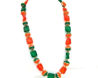 Vintage Orange and Green Lucite Necklace
