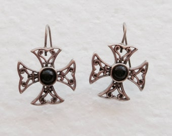 Sterling Maltese Cross Onyx Earrings Signed MD Wires