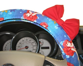 Steering Wheel Cover Bow - Little Mermaid Inspired Steering Wheel Cover with Bright Red Bow BF11058