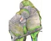 Parrot Painting Print of watercolor painting A4 print, bird art, wall art, home decor QP6415