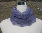 Infinity cowl / neckwarmer / snood. Hand knitted.Hand dyed  Merino and silk wool. Lilac