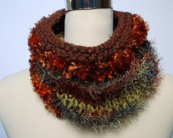 Autumn or Fall. Women's / teenager's hand knitted freestyle infinity cowl / scarf / neckwarmer.