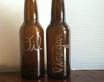 Oil & Vinegar Engraved Beer Bottle Pourers   House Warming Gift   Wedding Gift  
