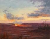 """ERUPTION 10""""x10"""" oil painting by Elaine Farmer"""