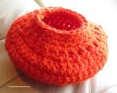 Crochet Basket - Bright Orange Soft Basket - Key and Cell Phone Holder - Hanging or Table Basket - Find It Keep It Basket - Item 4409