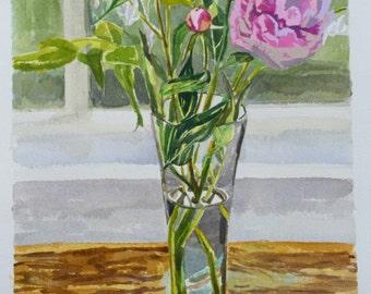 Peonies on 3-Season Porch, original watercolor& acrylic, flowers, pinks, greens, browns, still life, Michigan artist, woman artist, OOAK