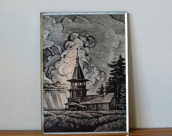 Vintage russian block print on tin scene of a church