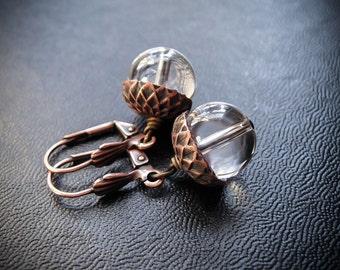 Quartz Crystal Acorn Earrings. Strega Acorns.  Witchy Woodland Earrings