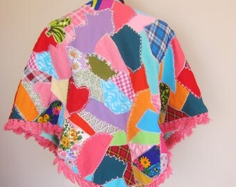70s patchwork poncho. home made poncho, festival wear, hippie clothing, bohemian cape, boho top, hand embroidered