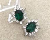 Vintage Green Rhinestone Earrings - Green Clip On Earrings - Statement Rhinestone Earrings - Vintage 1950s Earrings