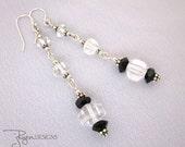 Vintage Repurposed Earrings - Art Deco Rock Crystal Earrings - Dangle Earrings - Repurposed Jewelry