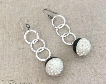 Vintage Repurposed Rhinestone Earrings - Rhinestone Dangle Earrings - Sterling Silver Earrings - Unique Repurposed Earrings