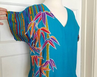 Fun Bright Colors Liberty House of Hawaii Summer top with Cute Bottom Tie
