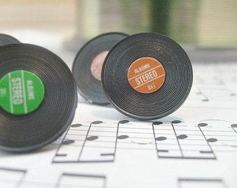 Vinyl Record Stud Earrings music earrings, miniature earrings, nostalgic studs