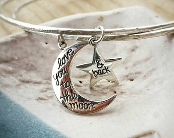 LOVE YOU to the MOON Sterling Silver Bangle and Bracelet Set by Moondrops  /// Artisan~Made Hand Forged Jewelry