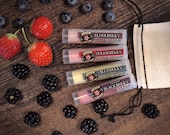 Lip Balm Gift Set BERRY Strawberry - Oregon Blackberry - Blueberry Lemon - Elderberry