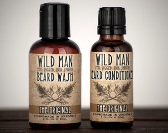 Mens Grooming Kit - Beard Gift Set - Two Pack - Beard Oil Conditioner + Wash Gifts Under 25