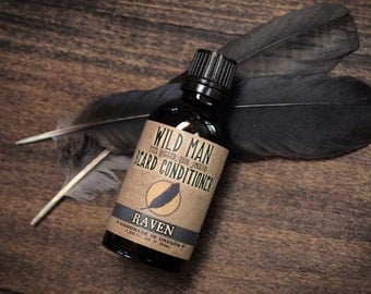 Mens Beard Oil Conditioner Wild Man RAVEN 50ml // 1.69oz Grooming Gift