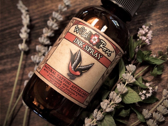 Natural Tattoo Aftercare Vegan INK SPRAY Dry Healing Anti Itch 120ml // 4oz