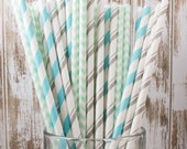 """75 Wintermint mixed combo barber striped paper drinking straws , FREE DIY Flags.  See also - """"Personalized"""" flags option."""