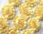 "Light Yellow Shabby Rose Trim 2.5"" Shabby Flowers Shabby Chiffon Flowers - Solid Shabby Chic Trim Wholesale Rosette trim 6cm 1 yard  #802"