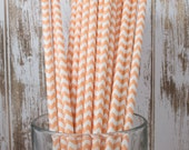100 Ct. Peach/Light Orange Chevron vintage striped paper drinking straws - with FREE Flag Template
