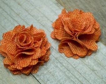 Flax Fabric Flowers - Pumpkin Orange linen Burlap fabric flowers (2 pcs) - use for headbands - hair hat shoe clips rustic vintage decoration