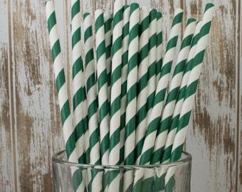 paper straws -100 Forest Green stripe straws drinking straws - cake pop sticks vintage party straws barber stripe bulk straws dark green