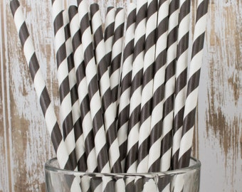 "25  Black and white barber striped paper drinking  straws - with FREE DIY Flag Template.  See also - ""Personalized"" flags option."