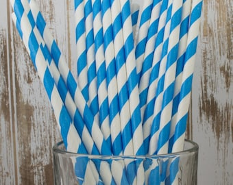 "25 Blue barber striped paper drinking straws -  with FREE DIY Flag Template.  See also - ""Personalized"" flags option."