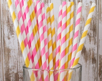 "50 lemonade yellow & pink mixed combo barber striped paper drinking straws , FREE DIY Flags.  See also - ""Personalized"" flags option."