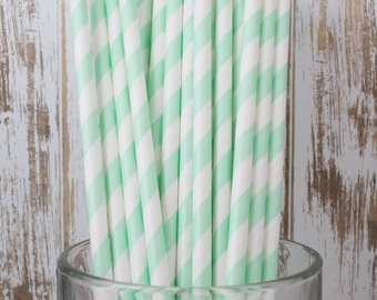 "100 ct. Mint Green vintage stripe paper drinking straws with FREE Blank Flag Template - See also ""Personalized"" flags option"