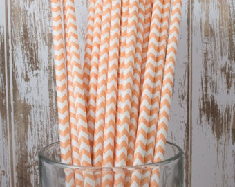 100 Ct. Peach/Light Orange Chevron vintage striped paper drinking straws - with FREE DIY Flag Template