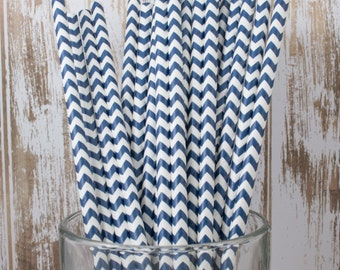 100 Navy Chevron vintage striped paper drinking straws - with FREE DIY Flag Template