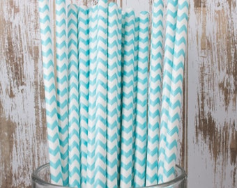 25 Ct Robin's Egg Blue Chevron vintage striped paper drinking straws - with FREE DIY Flag Template