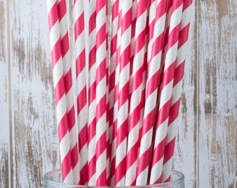 """100 Red Extra Long vintage barber stripe drinking straws - with FREE Blank Flag Template - see also """"Personalized"""" Flags"""