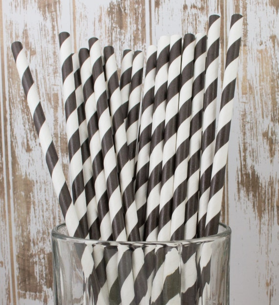 """25  Black and white barber striped paper drinking  straws - with FREE DIY Flag Template.  See also - """"Personalized"""" flags option."""