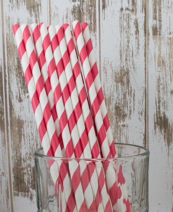 "25 red and white barber striped paper drinking straws - with FREE DIY Flags / Pendants.  See also - ""Personalized"" flags option."
