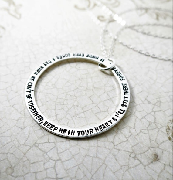 Custom Quote Necklace - Sterling Silver Washer - Large Washer - Thin Washer - Long Quote