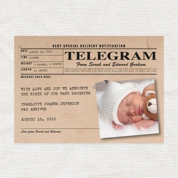 baby birth announcement vintage telegram style printable – Vintage Birth Announcement