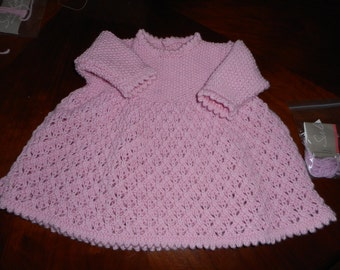 Beautiful Pink  Italian Merino Hand Knitted Baby Girl's Pink Long Sleeve Dress Size 18 inches  - Age 0 - 3 months +   Made in Scotland
