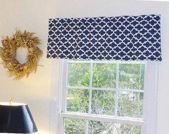Blue Window Valance - Blue Window Curtains - Navy Blue Valances - 52 x 16 - Fulton Navy Window Valance with Ruffled Top