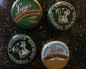 Green Bottle Cap Magnets - Set of 4 - Colorful Bar Decorations - Gifts for Guys or Girls
