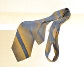 Retro Mens Necktie Sharkskin Style Turquoise Blue & Gold Diagonal Repp Stripes Vintage Tie Menswear